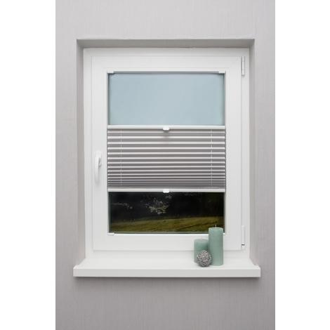 Plissee auf Maß Grau hell für alle Fenster Montage in der Glasleiste Faltrollo Blickdicht mit Spannschuh Sonnenschutzrollo Fensterrollo Plissee Rollo 611