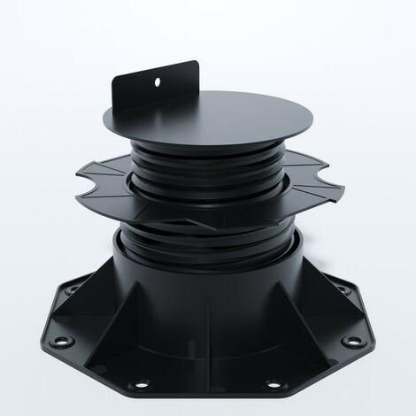 PLOT RÉGLABLE DE 60 À 140 MM POUR TERRASSE BOIS ET COMPOSITE - Coloris - Noir, Surface couverte en m² - 0.09