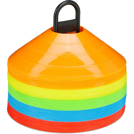 Plots de marquage, lot de 50, 5 couleurs, cônes pour football & handball, avec support, accessoire sport