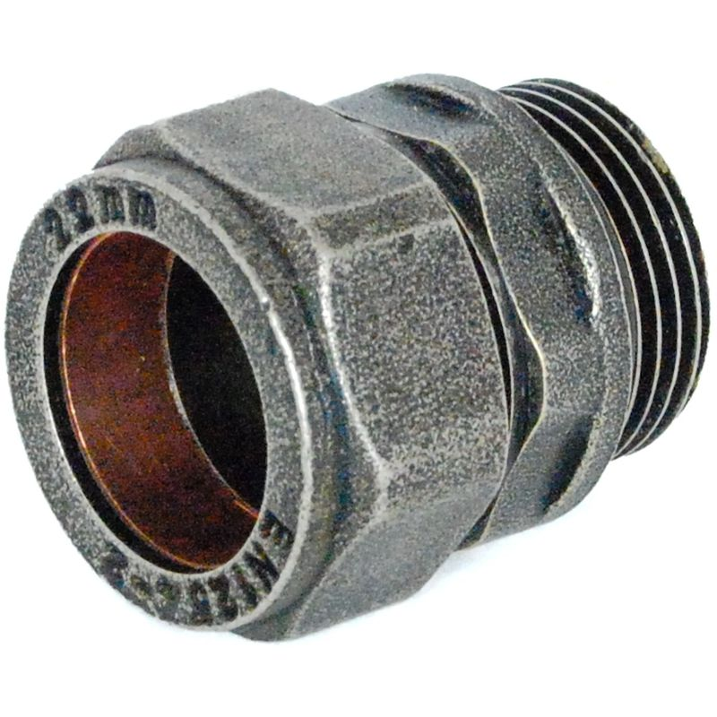 Abbey 22mm Brass Compression Adapter Pewter - Plumbers Choice