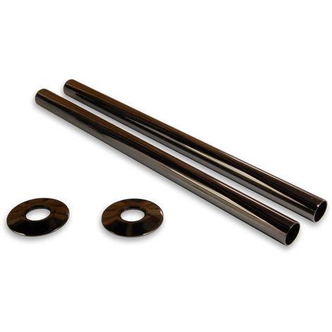 Plumbers Choice Black Nickel Brass Radiator Valve Sleeving Kit 300mm pair