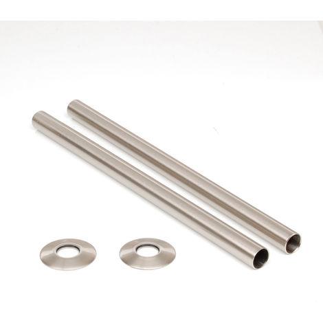 Plumbers Choice Brushed Satin Nickel Brass Radiator Valve Sleeving Kit 300mm pair