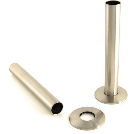 Plumbers Choice Brushed Satin Nickel Brass Radiator Valve Sleeving Kit pair