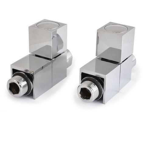 Plumbers Choice Cube Straight Square Radiator Valve Chrome