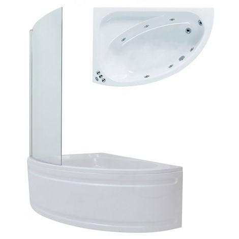 Plumbers Choice Dawn System 1 Acrylic Corner Whirlpool Bath 1500mm x 1000mm Left Hand