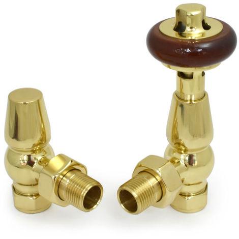 Plumbers Choice Faringdon Angled Brass Traditional Thermostatic Radiator Valve Polished Brass