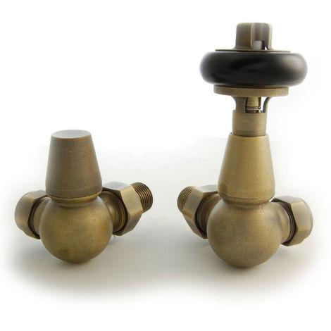 Plumbers Choice Faringdon Corner Brass Traditional Thermostatic Radiator Valve Old English Brass
