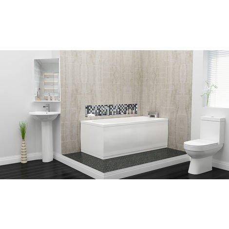 Plumbers Choice Kato Complete Bathroom Suite - 1500mm x 700mm Single Ended Bath - 480mm Wide Corner Basin