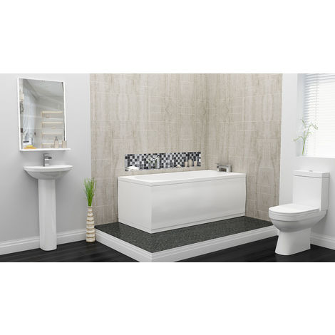 Plumbers Choice Kato Complete Bathroom Suite - 1700mm x 750mm Single Ended Bath - 450mm Wide Corner Basin