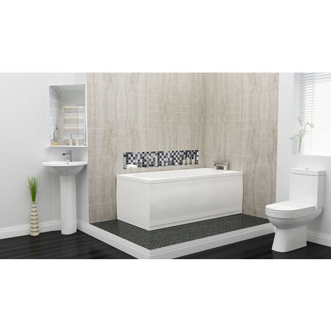 Plumbers Choice Kato Complete Bathroom Suite - 1700mm x 750mm Single Ended Bath - 480mm Wide Corner Basin