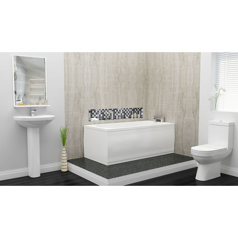 Plumbers Choice Kato Complete Bathroom Suite - 1800mm x 800mm Single Ended Bath - 450mm Wide Corner Basin