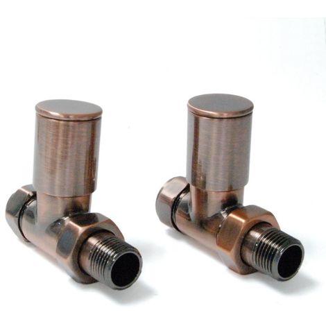Plumbers Choice Milan Straight Brass Radiator Valves Pair Antique Copper