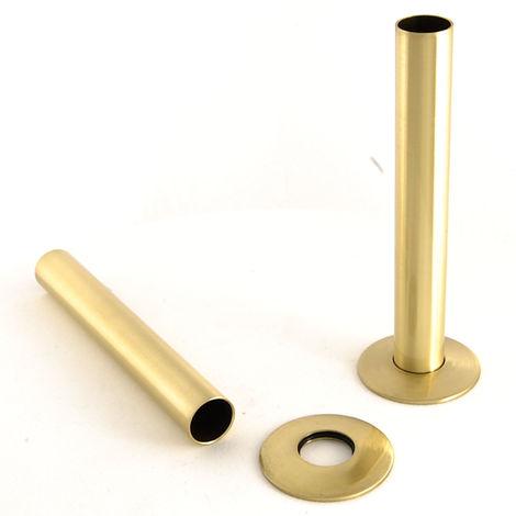 Plumbers Choice Polished Brass Radiator Valve Sleeving Kit pair