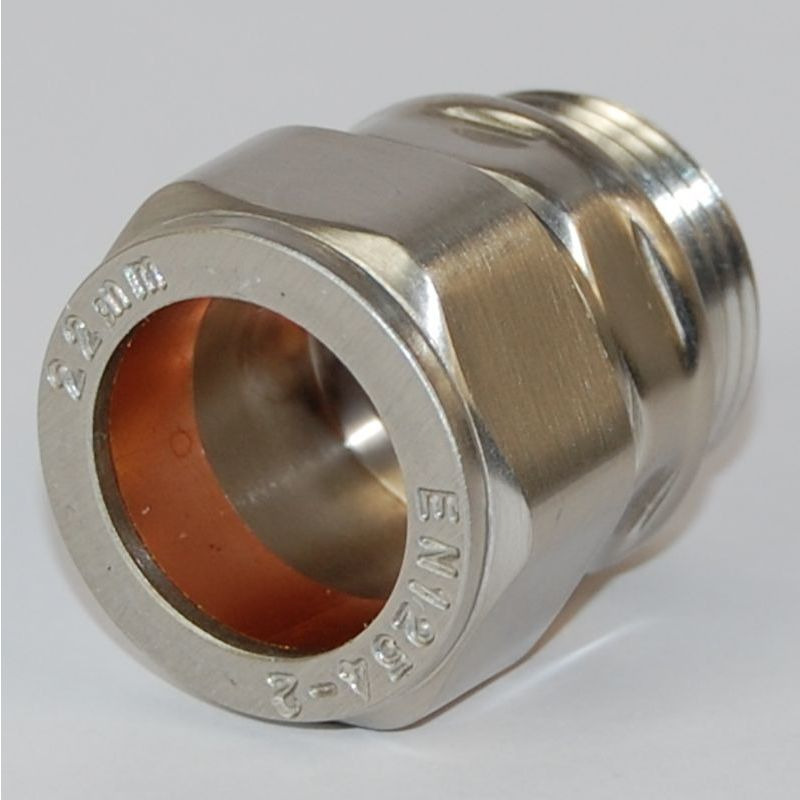 Rosa 22mm Brass Compression Adapter Brushed Satin Nickel - Plumbers Choice