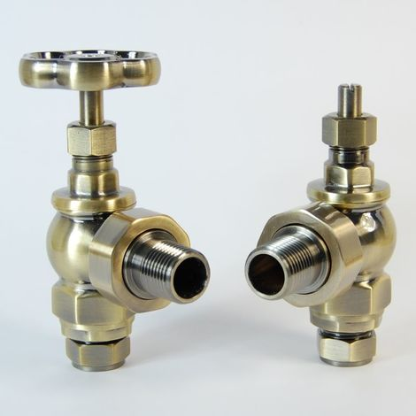 Plumbers Choice Rosa Angled Traditional Manual Radiator Valves Antique Brass