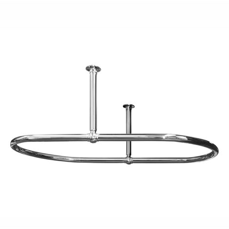 Plumbers Choice Traditional Oval 1100 x 690mm Chrome Oval Shower Curtain Rail Side Ceiling Stays