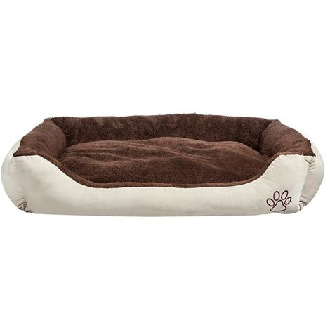Plush Dog Bed Pet Bolster Bed Large Oval Soft Basket Brown 110x80x18 cm