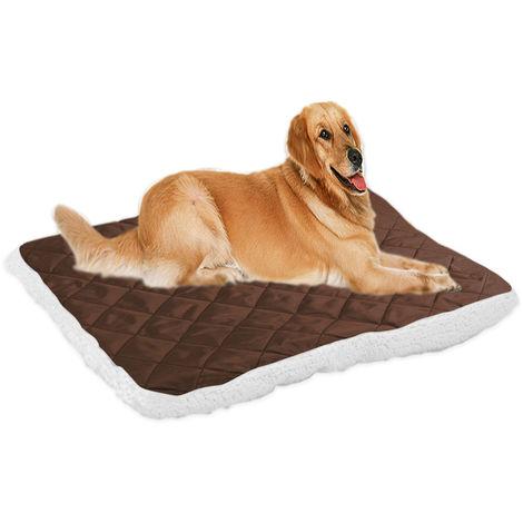 Plush Pet Mat Warm Dog Bed Kennel Cushion Blanket Dark coffee , XL