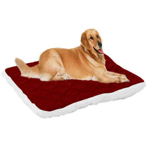 Plush Pet Mat Warm Dog Bed Kennel Cushion Blanket Dark red , L