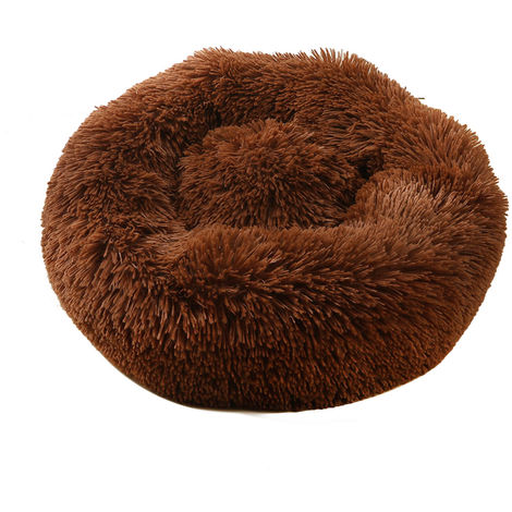 Plush Round Pet Bed Cat Soft Bed Cat Bed dark brown-diameter 50cm