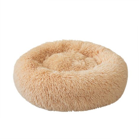 Plush Round Pet Bed Cat Soft Bed Cat Bed dark Champagne-diameter 50cm