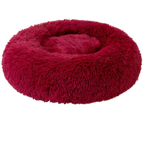 Plush Round Pet Bed Cat Soft Bed Cat Bed dark red-diameter 50cm