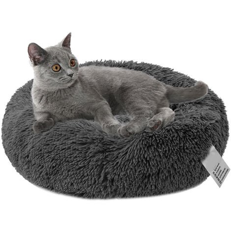 Plush Round Pet Bed Cat Soft Bed Cat Bed,dark grey-diameter 40cm