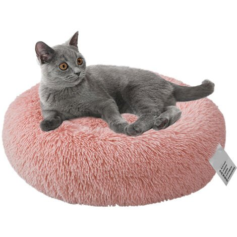 Plush Round Pet Bed Cat Soft Bed Cat Bed,pink-diameter 40cm