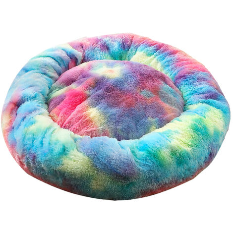 Plush Round Pet Nest (Colorful Blue-40cm Diameter)