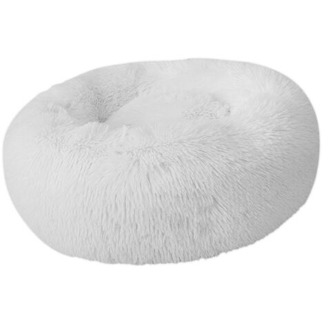 Plush Round Pet Nest (White-60cm Diameter)