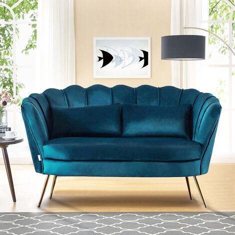 Plush Velvet Scalloped Shell Lotus 2 Seater Sofa