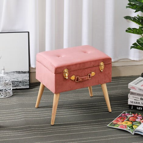 Plush Velvet Storage Trunk Stool Buttoned Seat Chair Toy Box Suitcase Footstool