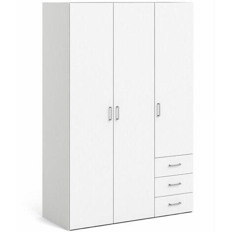 Pluto Wardrobe 3 Doors + 3 Drawers White