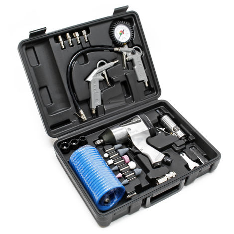 Pneumatic Air Tool Set 27 Pieces including Impact Wrench Air Hammer Straight Grinder and Accessories