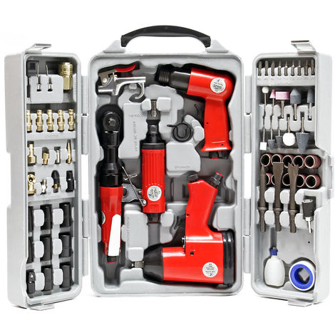 Pneumatic Air Tool Set 71 Pieces including Impact Wrench Air Hammer Straight Grinder and Accessories