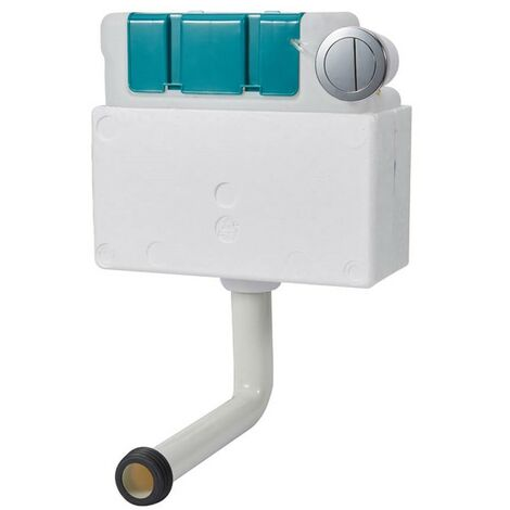 Pneumatic Dual Flush Concealed Cistern with Polystyrene Jacket & Chrome Button