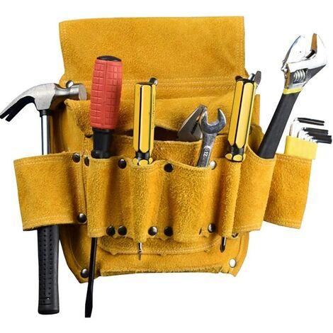 Poche à Outils Utilitaire Sac d'électricien en Cuir épaissi Sac Multifonctionnel pour Outils d'amélioration de l'habitat Sac de Ceinture pour matériel de menuiserie électrique (san