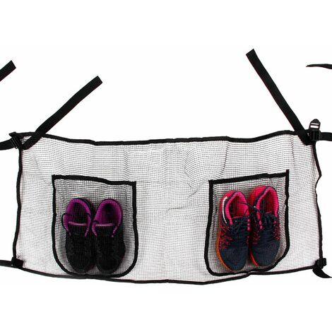 Poche sac de rangement trampoline pour objets et chaussures - 111x45cm - Noir Sac à chaussures