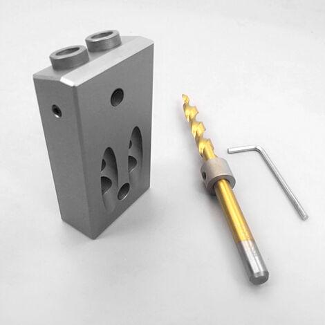 Pocket En Alliage D'Aluminium Porous Oblique Trou Jig Kit Systeme De Travail Du Bois Coup De Poing Locator Avec 9.5Mm Puncher Travail Du Bois Bricolage Tool Set