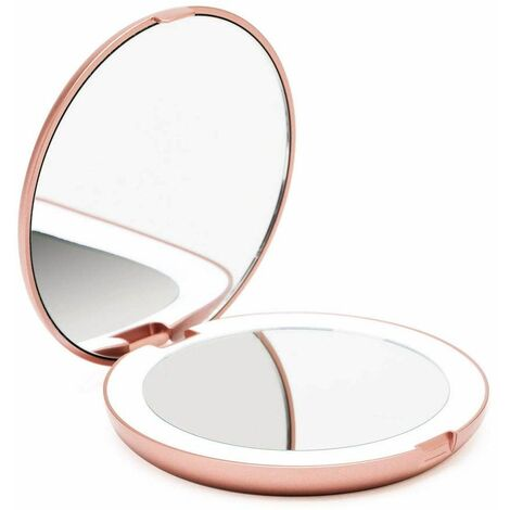 Pocket Illuminated Mirror, 1x / 10x Magnifying - LED Handheld Makeup Mirror with Natural Light, 12.7 cm Diameter, Compact and Portable for Travel (Rose Gold)