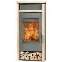 poêle à bois 6.5kw acier gris/beige - k4212 - fireplace