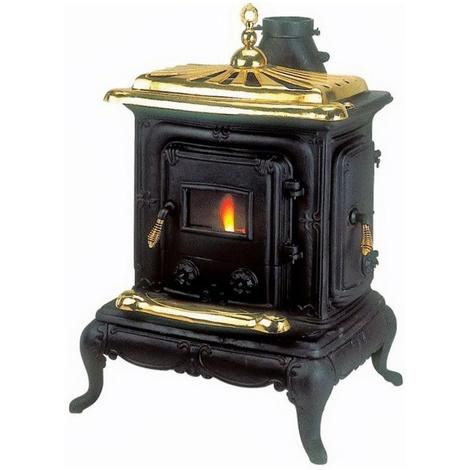 Poêle à bois 6Kw en fonte noir 57x51xh87cm chauffage maison Parlor Small