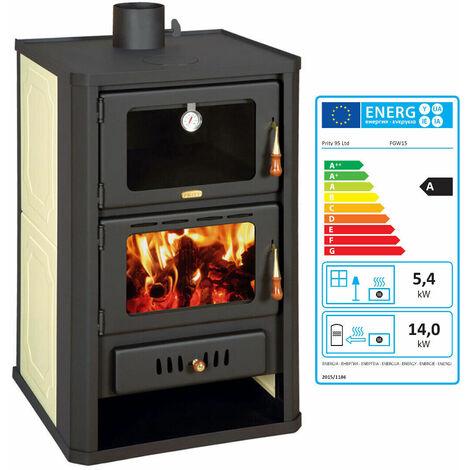 """Poêle à bois avec four pour système de chauffage central. Puissance de chauffage 5 + 15kw. Modèle """"Prity FG W15R"""""""