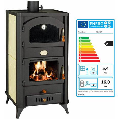 """Poêle à bois avec four pour système de chauffage central. Puissance de chauffage 5 + 18kw. Modèle rétro. Modèle """"Prity FG W18R"""""""