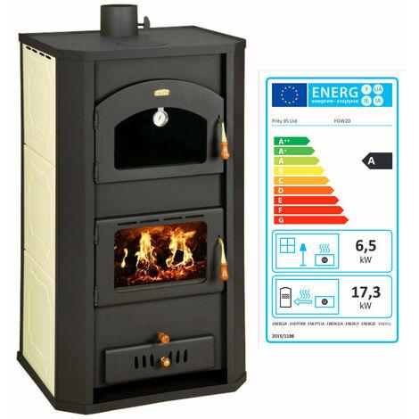 """Poêle à bois avec four pour système de chauffage central. Puissance de chauffage 6 + 20 kw. Poêle à combustible solide pour la cuisson et le chauffage. Modèle """"Prity FG W20"""""""