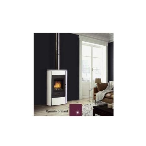 Poêle à bois - Crystal 1V2 - 9,5KW - Habillage Céramique - Foyer fonte - Carmin brillant