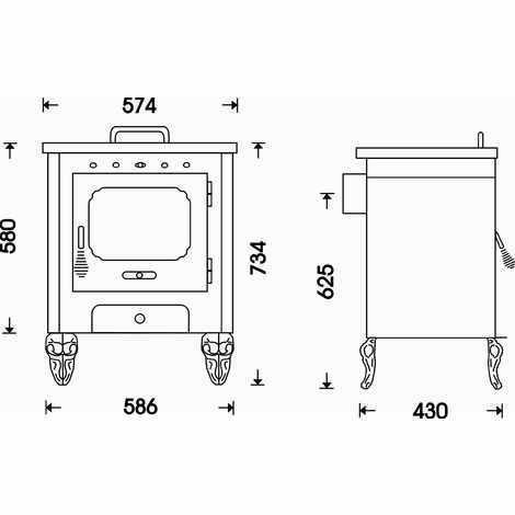 Medidas de la estufa de leña