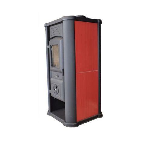Poêle à bois - Efesto - 9KW - Fonte - Céramique - Rouge
