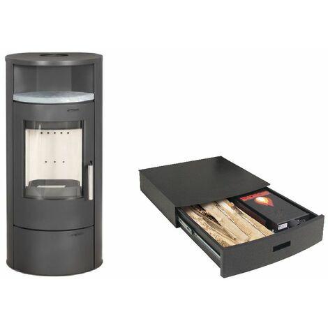 Poêle à bois ELSA 7KW avec option combustion continue - acier chauffe plat Pierre Ollaire option Podium+ range granules, bûches et aspirateur