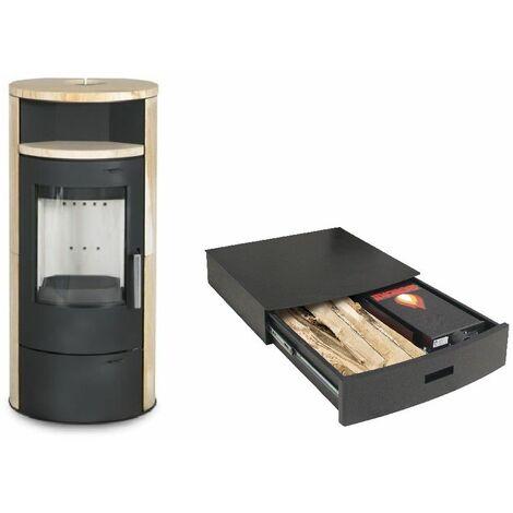 Poêle à bois ELSA 7KW avec option combustion continue - revêtement et chauffe plat Pierre De Sable option Podium+ range granules, bûches et aspirateur